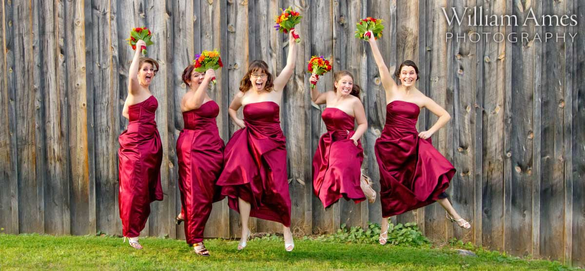 Bridesmaids jumping in air